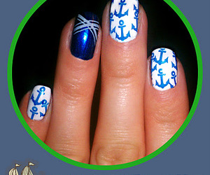 anchor, nail art, and navy image