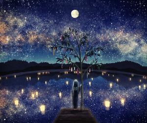 anime, night, and moon image
