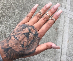 tattoo, lion, and nails image