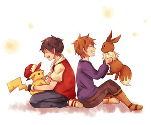 eevee, pikachu, and red x green image