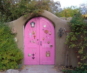 pink, door, and garden image