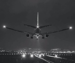 airplane, night, and light image