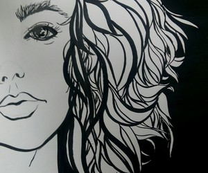 black and white, girl, and paint image
