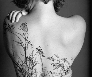 tattoo, tree, and black and white image