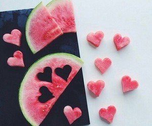 hearts, watermelon, and yummy image