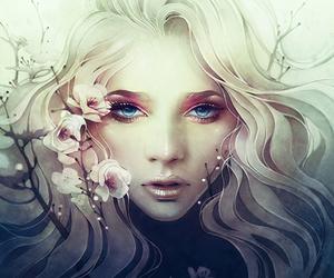 art, digital art, and flowers image