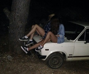 car, vans, and girls image