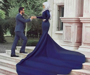 dress, couple, and hijab image