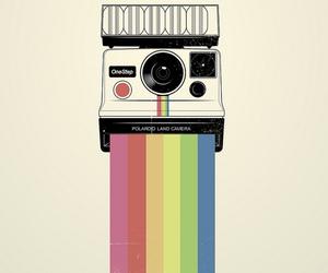 camera, polaroid, and rainbow image