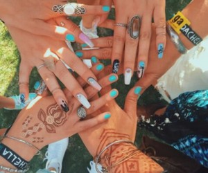 nails, coachella, and friends image