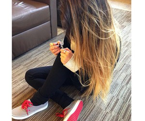 hair, girl, and vans image