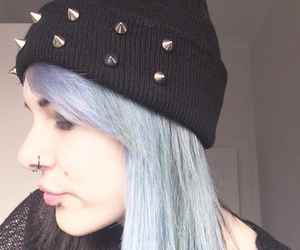 alternative, hair, and lip piercing image