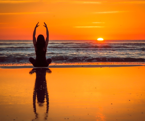 yoga, beach, and beautiful image