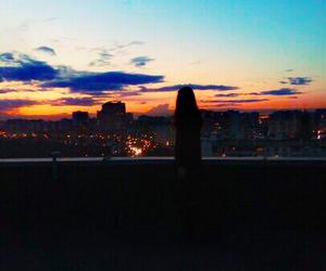 girl, sky, and light image