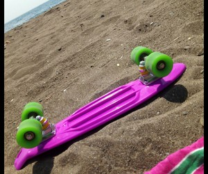 beach, pink, and skate image