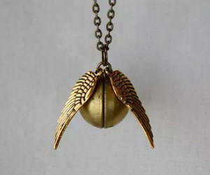 harry potter, necklace, and gold image