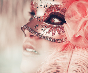 mask, pink, and masquerade image
