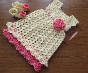 baby dress, crochet pattern, and shoes pattern image
