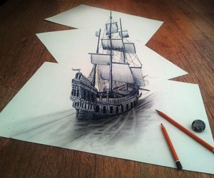 drawing, art, and ship image
