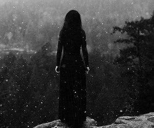 girl, snow, and black image