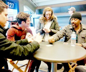 danielle panabaker, grant gustin, and the flash image