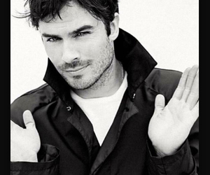 black & white and ian somerhalder image