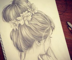 hair, drawing, and flowers image
