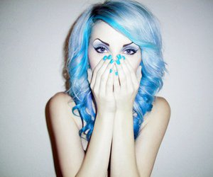 blue, eyebrows, and curly image