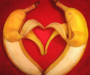 banana, heart, and love image