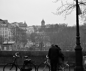 bikes, black and white, and city image