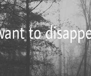 disappear, black and white, and sad image