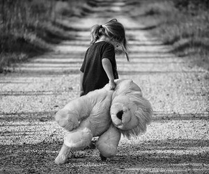kids, bear, and black and white image