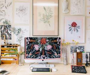 desk, interior, and florals image
