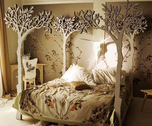 bed, bedroom, and tree image