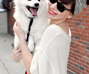 dog, girl, and glasses image