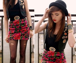 edgy, floral, and lookbook image