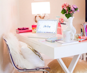 room, pink, and desk image