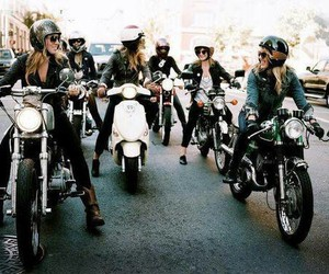 girl, motorcycle, and friends image