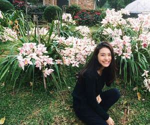 asian girl, flowers, and photo image