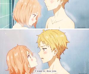 anime, kyoukai no kanata, and kiss image