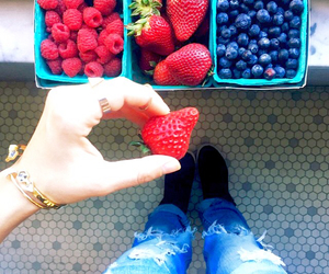 berries, food, and raspberries image