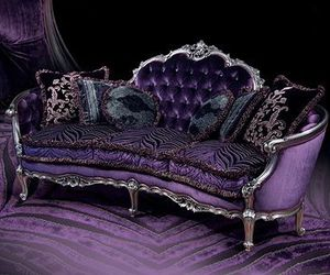 purple, couch, and gothic image