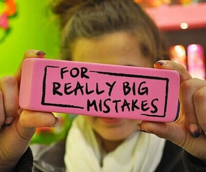 mistakes, eraser, and pink image