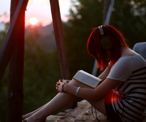 girl, book, and music image