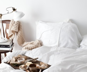 bedroom, bed, and breakfast image