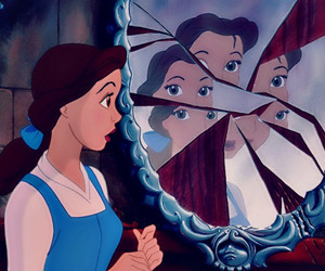 belle, disney, and mirror image
