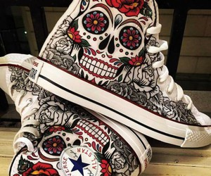 converse, skull, and shoes image