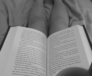 black and white, book, and feet image