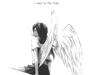 angel, girl, and black and white image