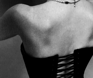 corset and black and white image